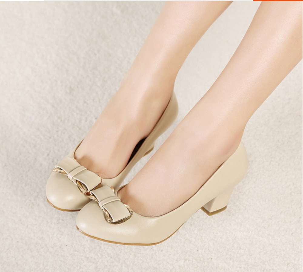 2015 Women's Shoes 7cm Thick Heel Pumps Low Heel Work Shoes Women ...