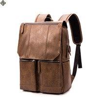 Brand Backpack Leather Men Laptop Travel Backpack 15inch Waterproof Laptop Backpack USB College Bookbag Men mochila hombre