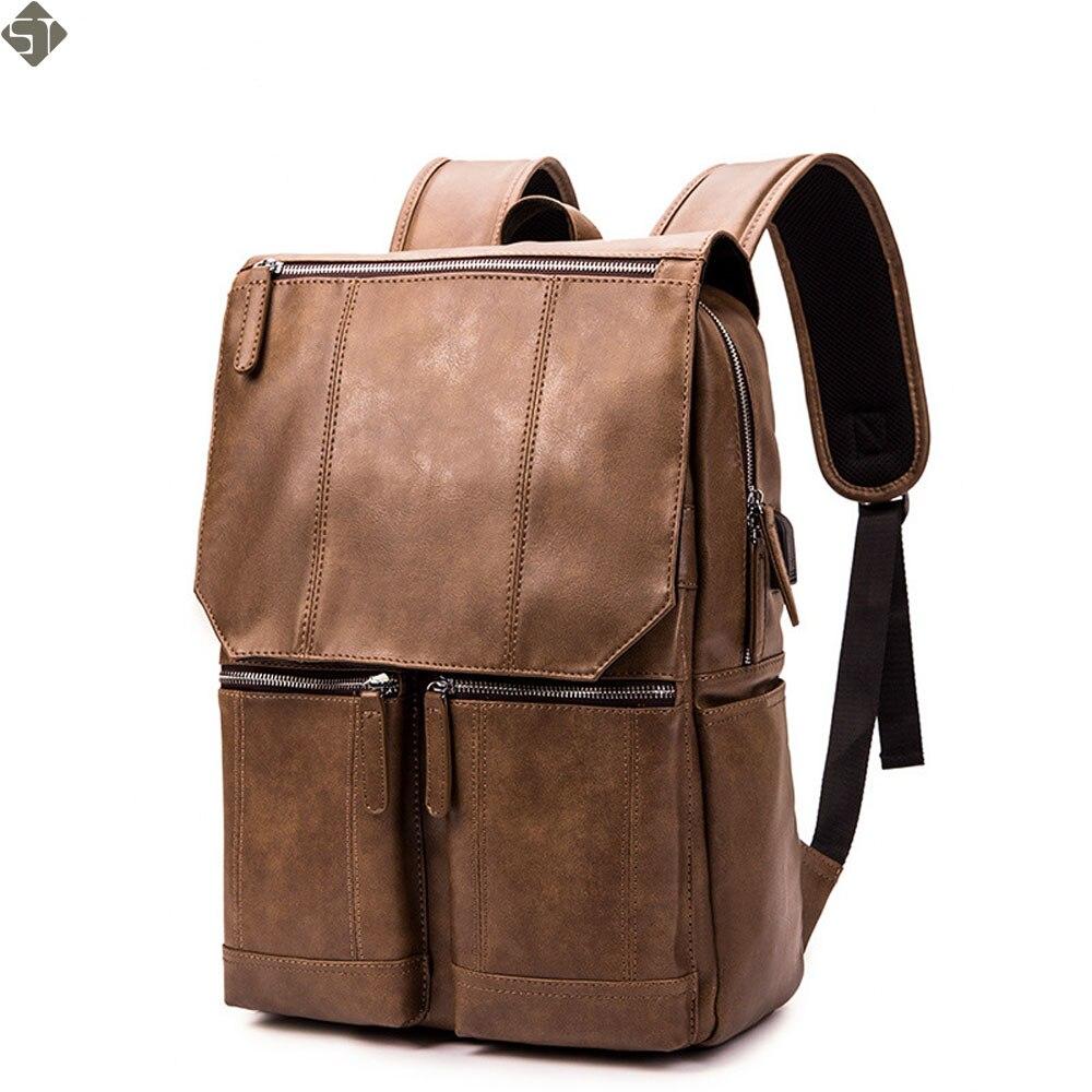 Marque sac à dos en cuir hommes ordinateur portable voyage sac à dos 15 pouces étanche sac à dos pour ordinateur portable USB collège Bookbag hommes mochila hombre