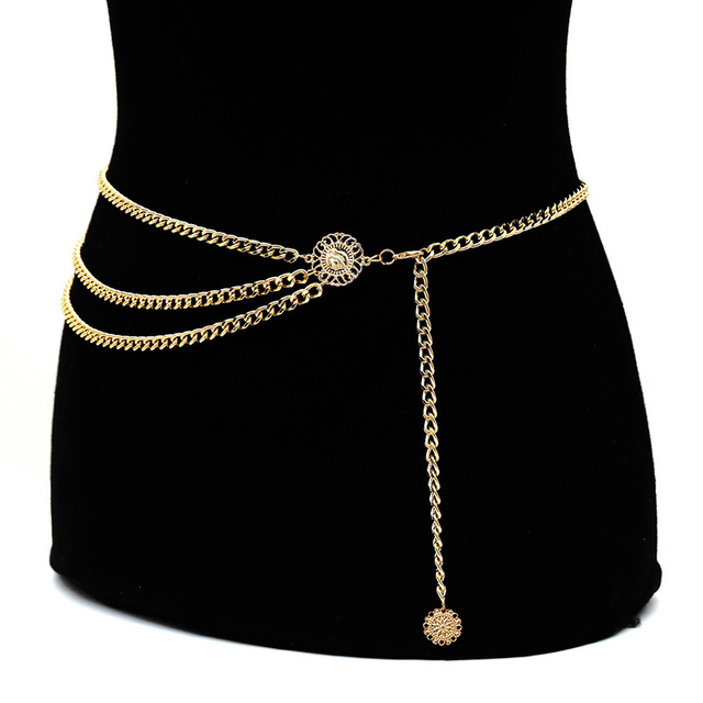 2018 Personality Fashion Metal Waist Chain Gold Plated Belt