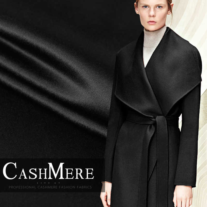 Limited hot sale fashion luxury Senior pure black double-sided cashmere wool fabric for coat tissus au meter DIY tissu telas