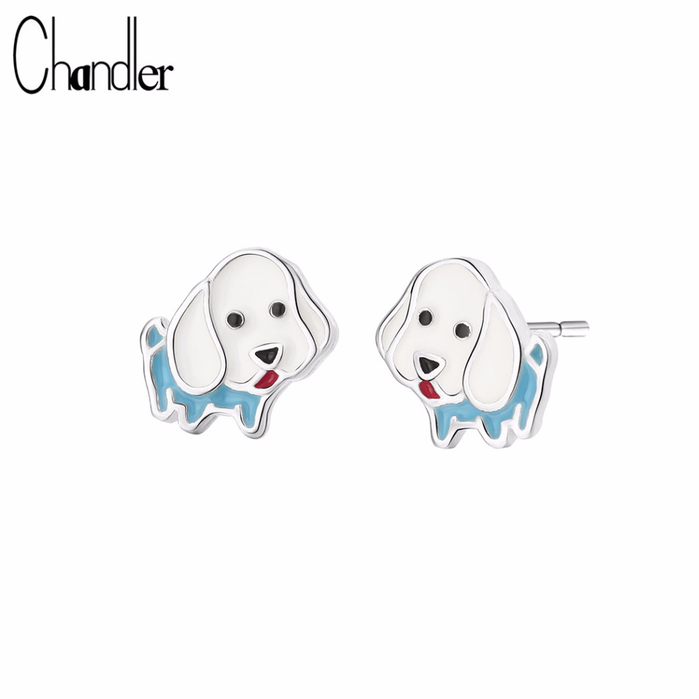 Chandler Cute Dog Puppy Samll Earrings For Girls Multicolor Enamel Sweet Lovely Pet Lovers Gifts Dog Animal fashion 925 Jewelry