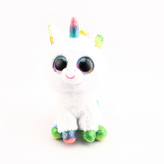 ee2847c1f0a Ty Beanie Boos Big Eyes White Unicorn Plush Toy Doll 10 - 15cm TY Baby For  Kids Birthday Gift