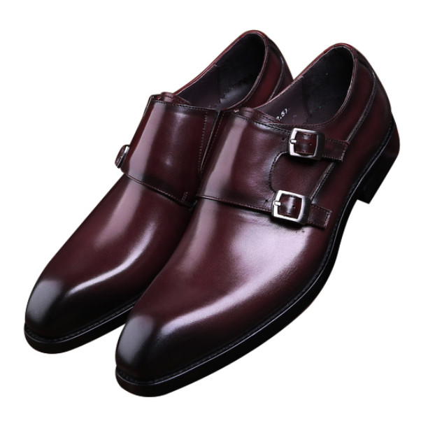 Fashion Black / Brown Business Shoes Mens Dress Shoes Genuine Leather Wedding Shoes Man Formal Prom Shoes With Double Buckle 2015 italian luxury alligator fashion mens dress shoes genuine leather with buckle black flats for man wedding party office 979