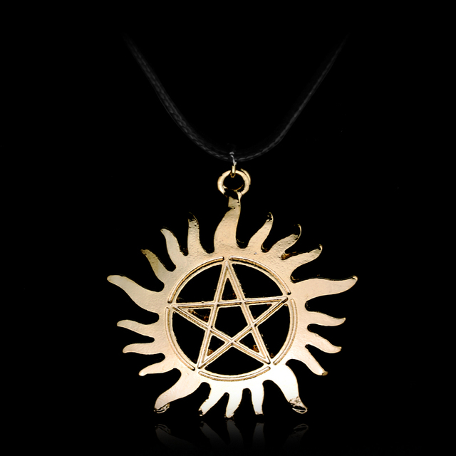 US $9 0 |Freeshipping 10 Pcs a Lot Supernatural Inspired Sun Pentagram  Protection Tattoo Necklace Anti Possession Symbol Jewelry-in Pendant  Necklaces