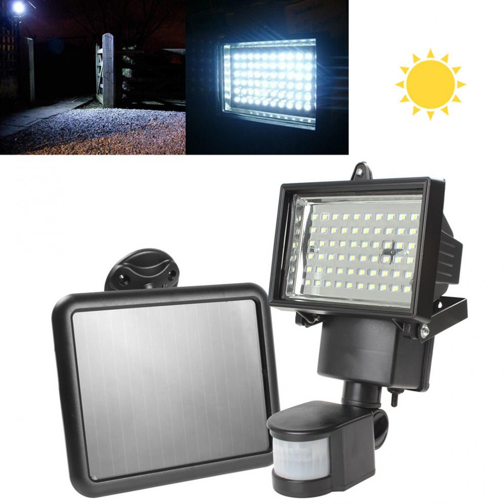 High Quality Solar Panel LED Flood Security Garden Light PIR Motion Sensor 60 LEDs Path Wall