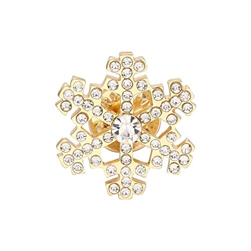 Latest Crystal Snowflake Lapel Pin True Gold color Safety Brooches Pin Perfect Christmas Gift