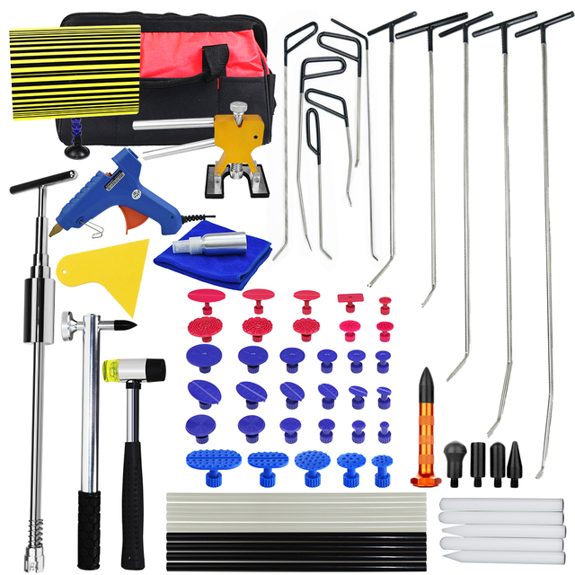 PDR Rods Hook Tools Paintless Dent Repair Car Dent Repair Dent Removal Reflector Board Dent Puller Lifter Glue Gun Tap Down Set