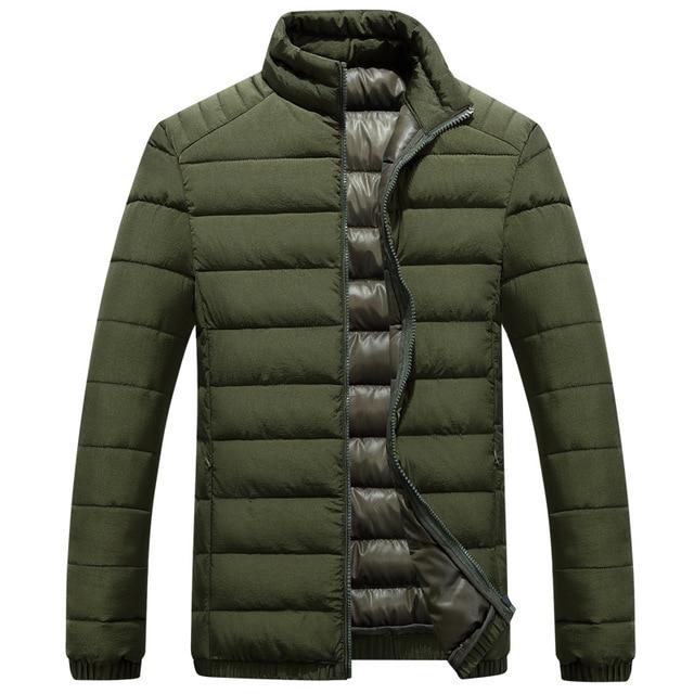 New Trend Winter Jacket Men/Boy Doudoune Homme Hiver 2016 Mens Fashion Army Green Zipper Slim Fit Cotton Down Jackets