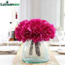 ФОТО luxuan 5 silk peony flowers artificial european fake flower vivid for wedding home christmas decoration flowers 3 bouquet/lot