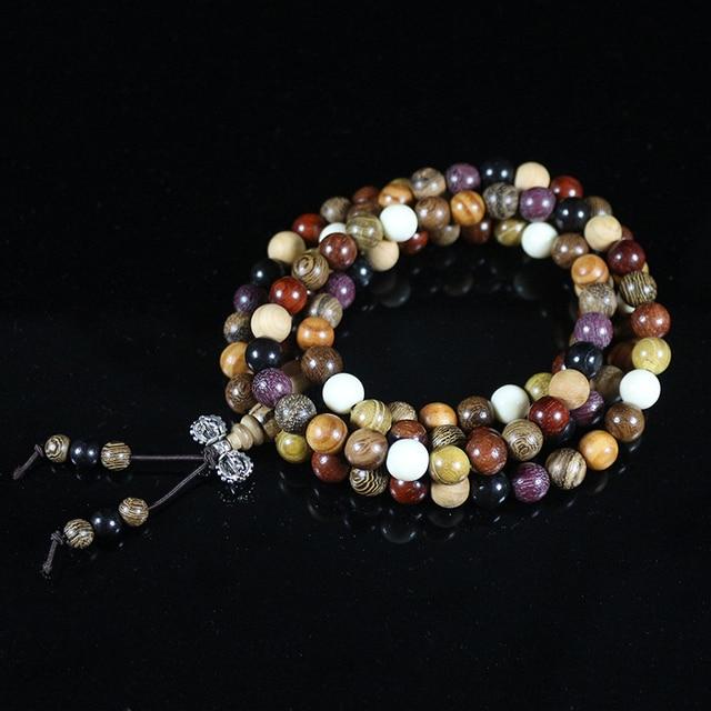 6c01adad65121 Natural Sandalwood Bracelets 8mm 108pcs Multilayer Buddha Prayer Beads  Handmade DIY Jewelry Bangle for Women Vintage Pulsera