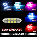 FAST SHIPPING!!! 10x 41mm 5050 Festoon 12V DC C5W LED Car Interior Dome Map License Plate Light Warm White/Blue/Red/Pink/Green