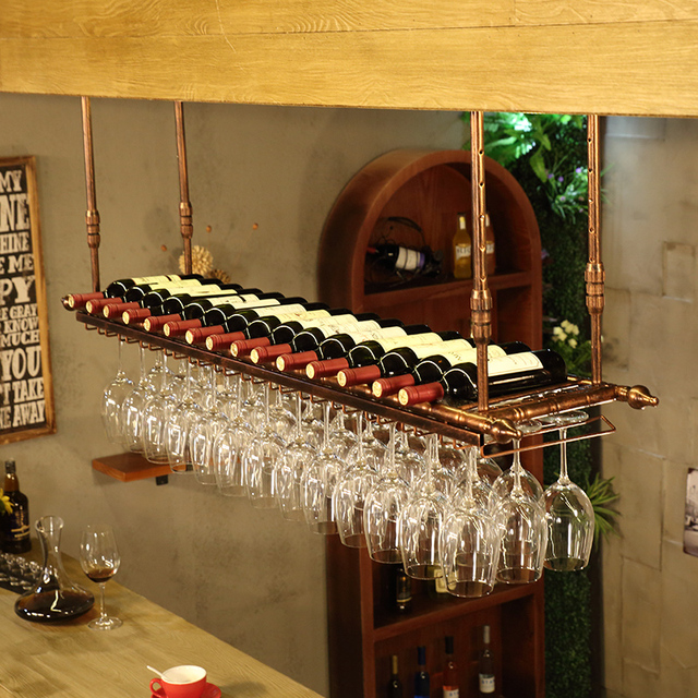 Wrought iron wine rack wine glass rack wall hanging cup holder Glass Holder Cabinet Wall Storage Organizer Stemware Rack