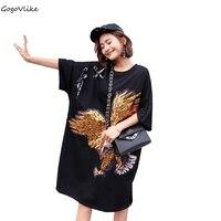 Summer Dress Women Black Sequins Eagle Dress Sequins Dresses Sequins Hollow Out Vestidos Cotton Oversized Short