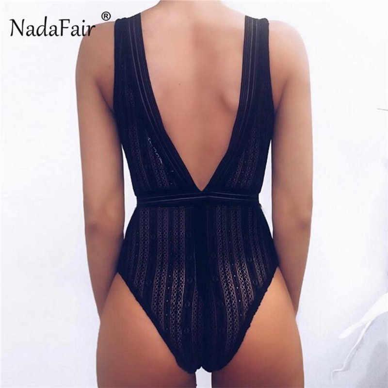 Nadafair прозрачный v-образный вырез сексуальный кружевной боди вечерние Клубные Белые Черные сетчатый комбинезон женский летний без рукавов боди Женский