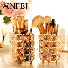 ANFEI New Fashion Gold Crystal Makeup Brush Storage Bucket Cosmetic Storage Box Recommended Atmospheric Beauty B2221