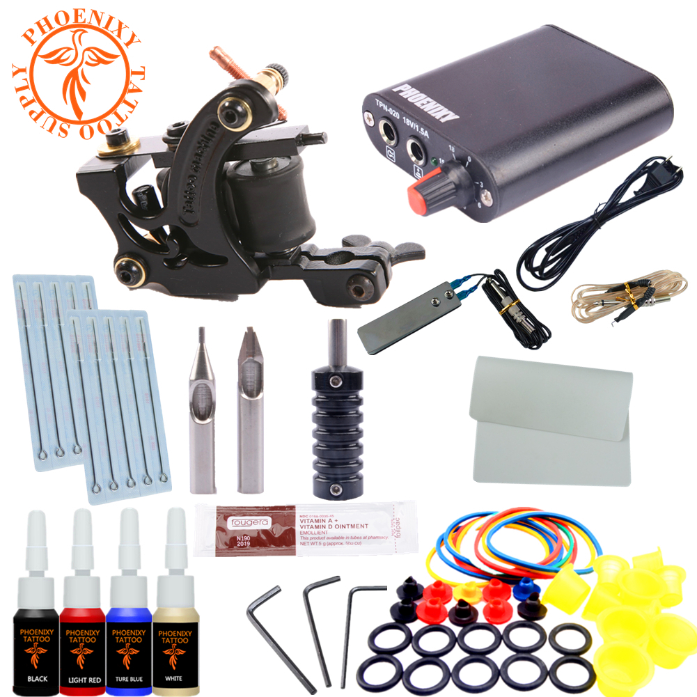 Tattoo Kit Completed Tattoo kits 8 wrap coils guns machine 1/6oz black tattoo ink sets power supply disposable needle tattoo kit completed tattoo kits 8 wrap coils guns machine 4 color tattoo ink sets power supply disposable needle