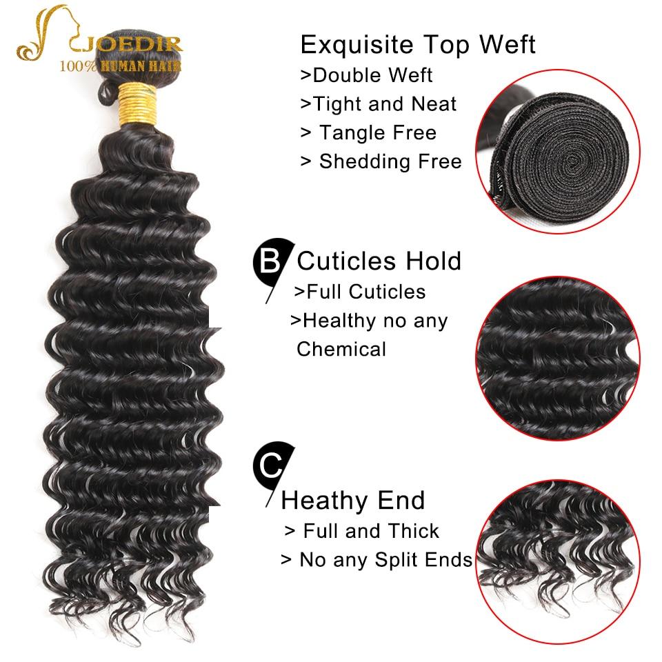 Joedir Deep Wave Human Hair Bundles Med 360 Spets Frontal 3 Bundlar - Skönhet och hälsa - Foto 3