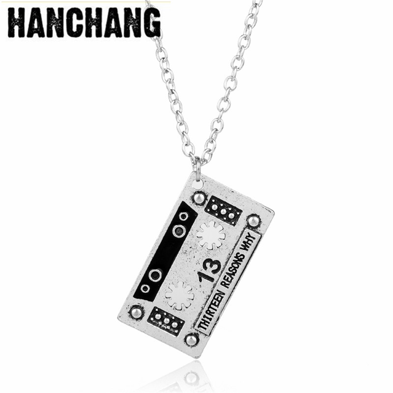 Creative 13 Thirteen Reasons Why Pendant Necklace Punk Tape Alloy Statement Necklace Men Women Jewelry