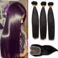 Brazilian Virgin Hair With Closure 3 Bundle &1 Lace Closure 8a Unprocessed Straight Human Hair With Closure