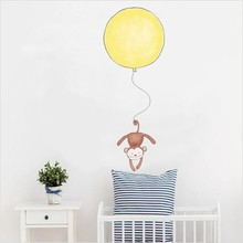 Funny Monkey Giraffe With Balloon Diy Wall Sticker For Kids Rooms Decoration Accessories Cute Animals Art Decals Wallpaper