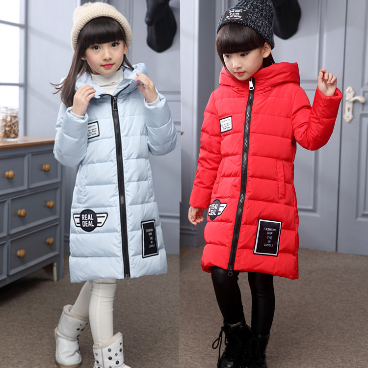 2016 Winter New Fashion Children Duck Down Jackets Kids Parkas Coats Long Outwear Hooded For Girls Jackets 14Y new 2017 fashion girls winter coats female child down jackets top quality outerwear medium long thick 90% duck down parkas
