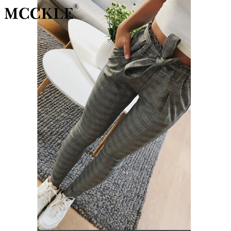MCCKLE Plaid High Waist Harem Pants With Belt For Women Vintage Gray Grid Casual Office Lady Capris Women's Slim Leg Trousers