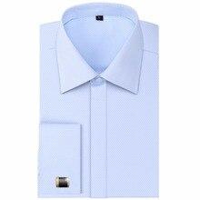 Hohe Qualität Männer Französisch Manschettenknöpfe Casual Shirts Langarm Dachte Taste Design Slim Fit Stil Hochzeit Smokinghemd
