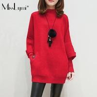 MissLymi XXXL Plus Size Women Sweater Long Sleeve Half Turtleneck Pullovers Dress 2017 Autumn Winter Fake