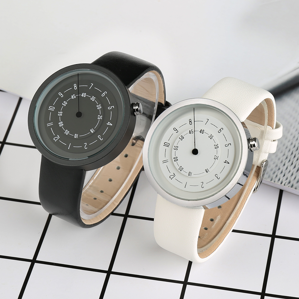 UNISTAR    Fashion Black White Quartz Watch Unique Double Dials Genuine Leather Band Ultra Slim Casual Watch For Couples in love