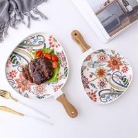Flower Ceramic Dinner Plate Tableware Dessert Cake Snacks Dish Western Food Beef Steak Plate Dinner Set Kitchen Dinnerware 262