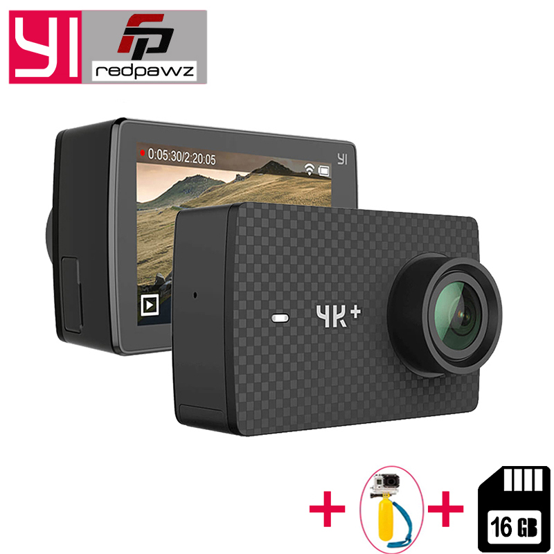 YI 4K Plus Action Camera +16 GB SD Card 2.19' Ambarella H2 for SONY IMX377 12MP 155 Degree 4K Ultra HD for Xiaomi 4K+ Sports Cam xiaomi yi 4k action camera 2 ambarella a9se sony imx377 1400mah