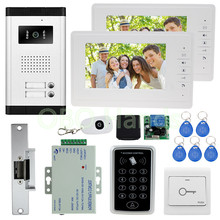 "7"" color video door phone intercom camera with rfid door access control keypad system kit set +electric lock for apartments"