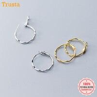 Trustdavis 925 Sterling Silver Personality Wave Round 2.4cm Hoop Earring S925 Earrings Gift For Women Girl Teen Jewelry DA300