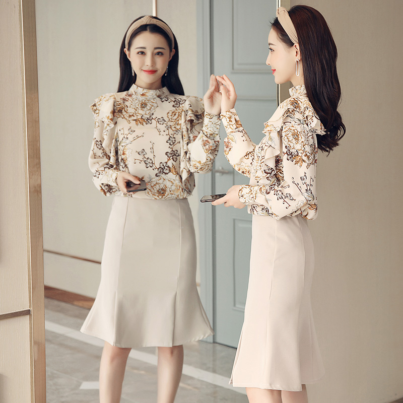 spring women chiffon blouse new floral shirt fish tail skirts korean fashion suits lady vestidos outfit design party 2 pcs cloth