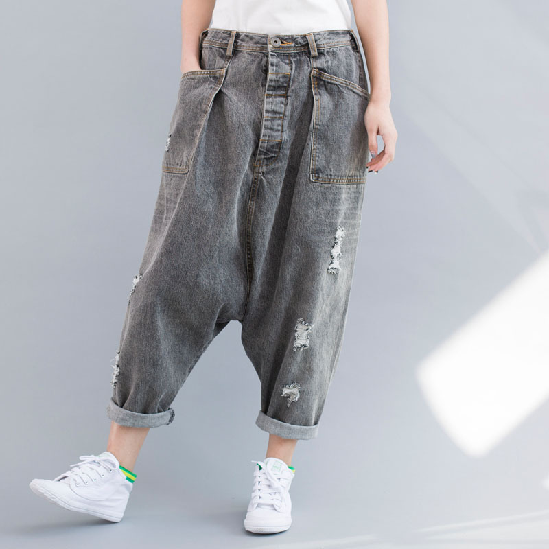 US $27.55 5% OFF|Denim Elastic Waist Baggy Pants Women Casual Hip hop Drop Crotch Harem Pants Fashion Loose Trousers Ripped Boyfriend Jeans in Jeans