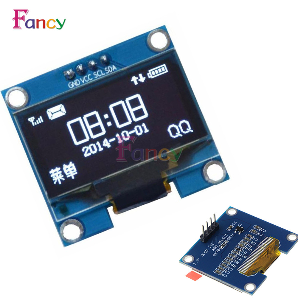 1.3 inch 128X64 OLED module white on black 3-wire SPI 4 wire SPI IIC interface driver SH1106