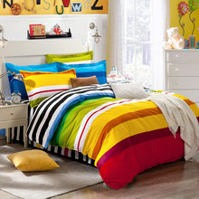 100% Cotton Rainbow Colorful Thin Stripe Bed Quilt Cover Bed Cap Fitted Sheet Bed Sheet Pillow Case(China)
