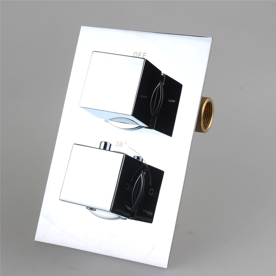 Solid Brass Thermostatic Shower Valve Mixer Tap Square 2 Dial 2 Way Adjust the Mixing Water
