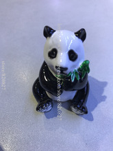 Cute Panda with Bamboo Jewelled Trinket Box Jewelry Box withCrystal, Pill Box Figurine Panda w/ Bamboo Leaf Jeweled Ring Box