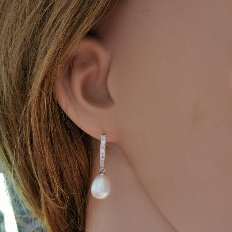 Fashion Nyata Mutiara Air Tawar Alami Perhiasan Anting-Anting Pernikahan untuk Wanita 925 Sterling Perhiasan Perak Anting-Anting
