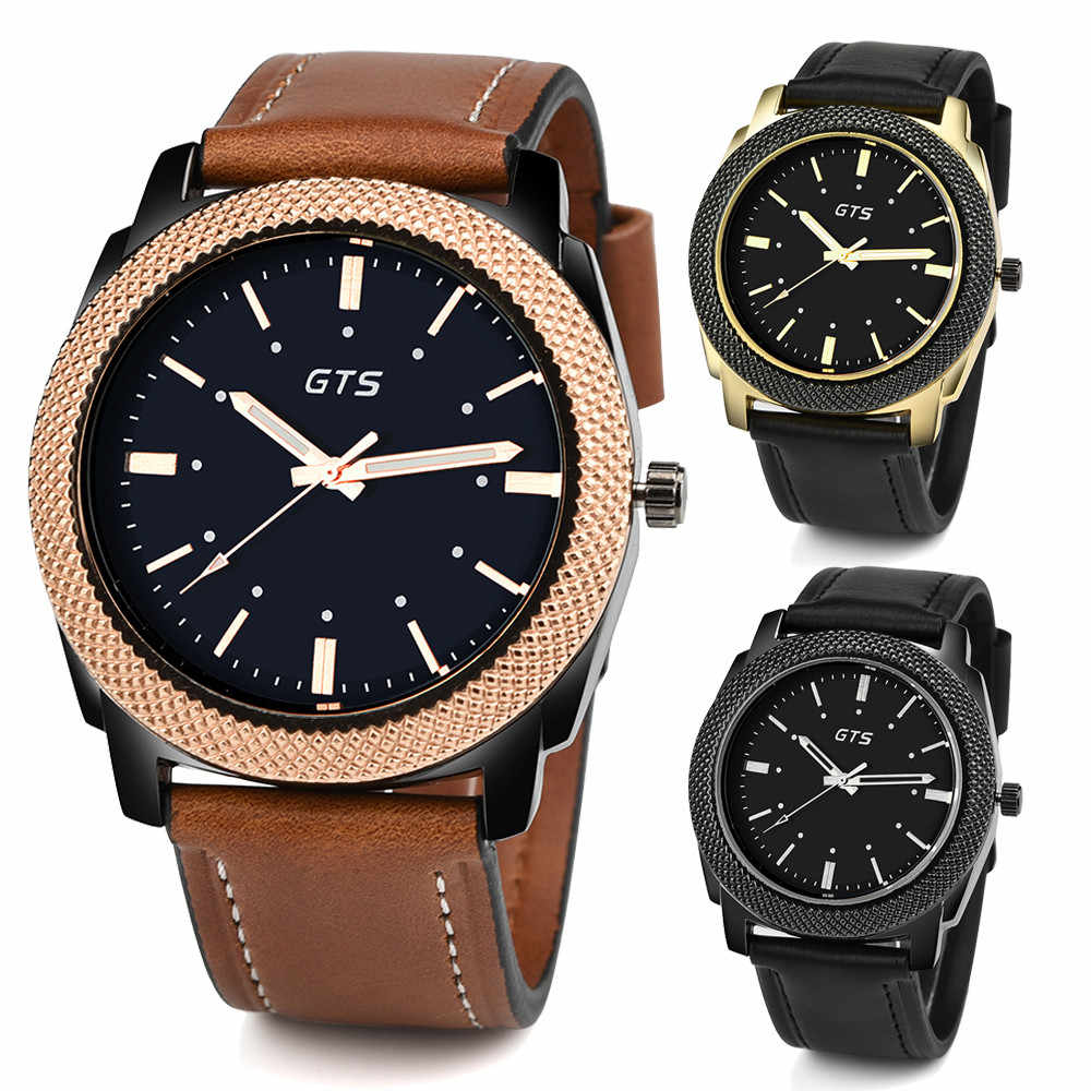 Fashion GTS Men's Date Alloy Case Synthetic Leather Analog Quartz Sport Watch reloj hombre Masculinity Real leather watches