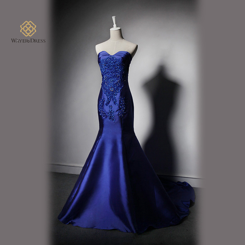 Real Pictures Fashion Royal Blue Black Mermaid Long Evening Dress Top Fish Tail Celebrity Robe De Soiree Longo 2017 In Dresses From