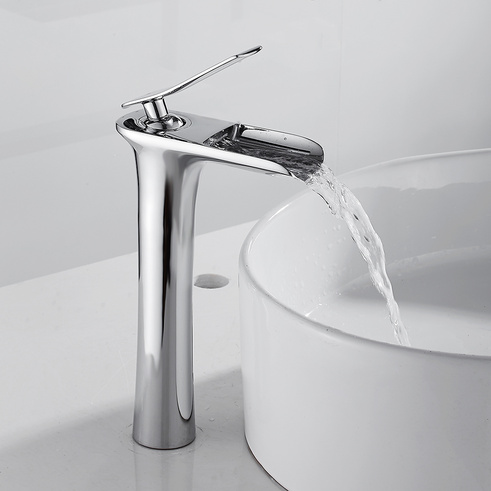 Basin Faucet Waterfall Counter Top Basin Mixer Tap Bathroom Sink Taps Tall Chrome Faucet Deck Mounted Single Hole цена