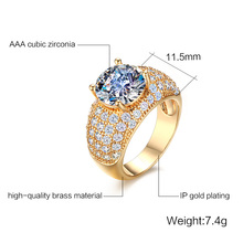 Meaeguet Vintage Cubic Zirnonia Rings For Women Wedding Jewelry Gold-Color Big Round Finger Ring