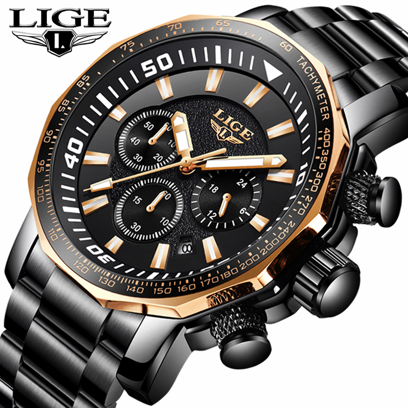 LIGE Mens Watches Top Brand Luxury Full Steel Business Quartz Watch Men Fashion Casual Waterproof Sport Watch Relogio Masculino pink dandelion design кожа pu откидной крышки кошелек для карты держатель для samsung j5prime