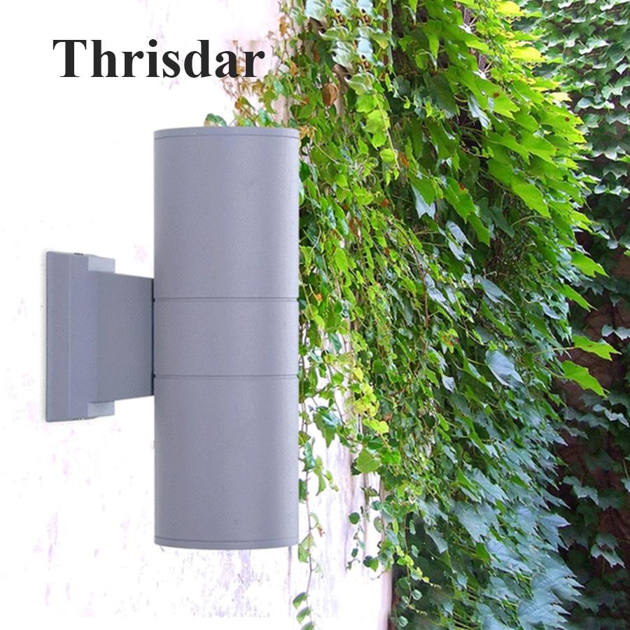 thrisdar iluminacao exterior 10 w 18 w 24 w dual cabeca do cilindro led porch luz