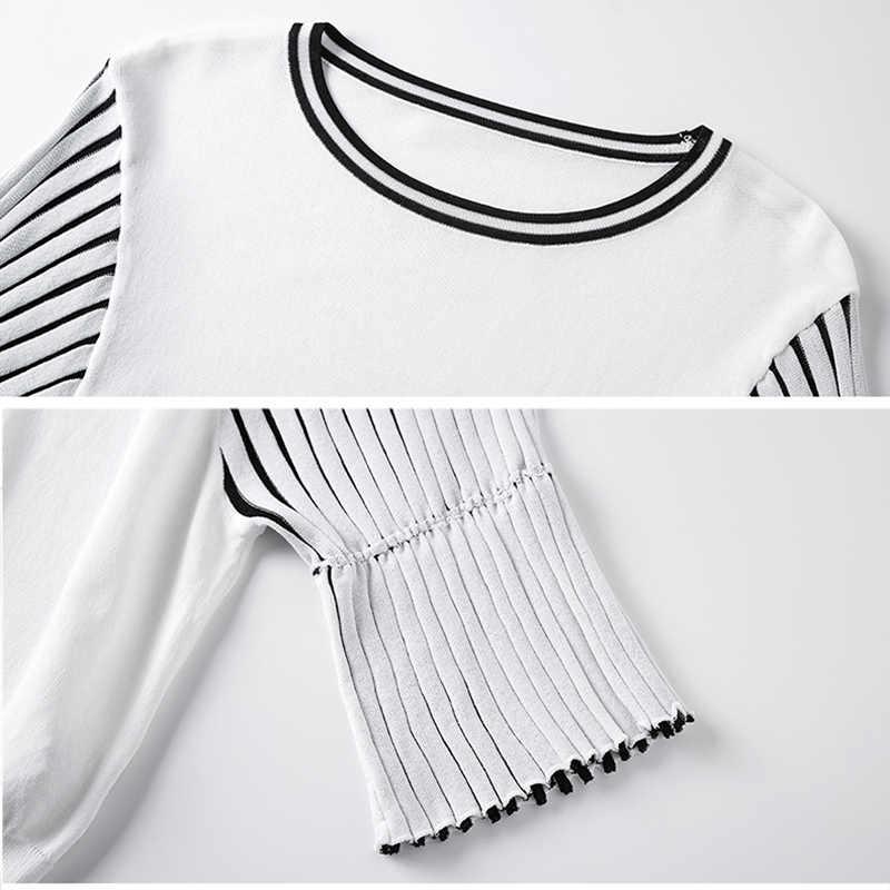 Весна трикотажный топ женщин 2019 новый свободный случайный корейский пуловер тонкий свитер черные полосы летняя мода в