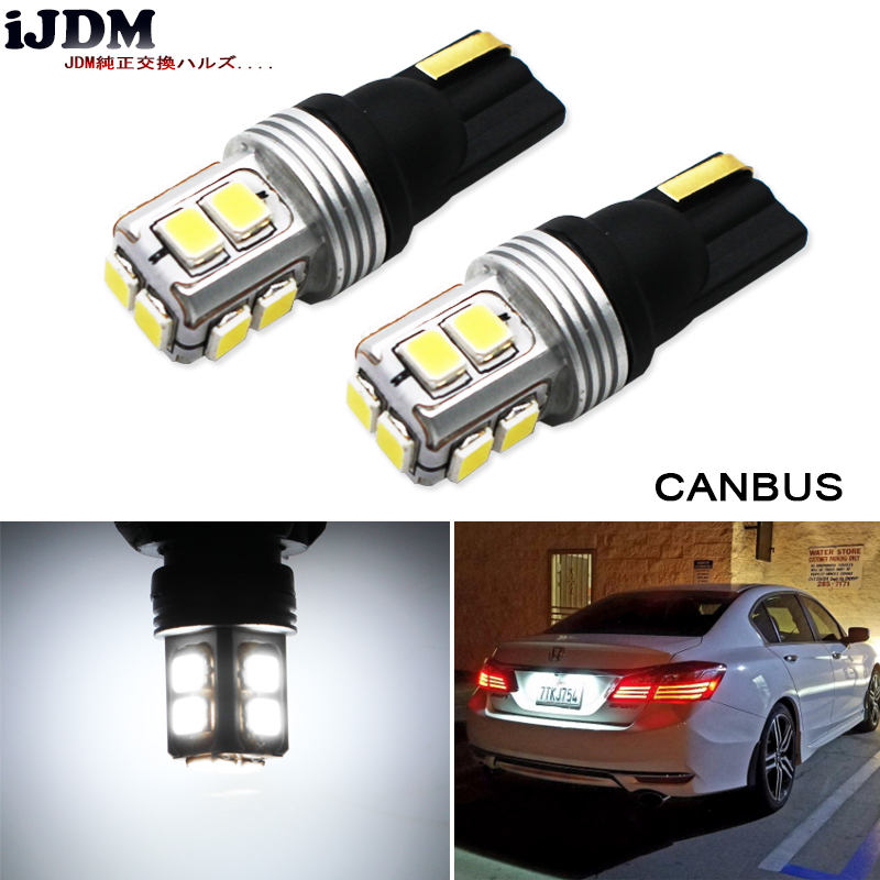 iJDM Super Bright T10 LED Canbus No Error T10 W5W 168 194 Car LED Reading Mirror License Plate Width light,W5W White Red Yellow 4pcs super bright t10 w5w 194 168 2825 6 smd 3030 white led canbus error free bulbs for car license plate lights white 12v