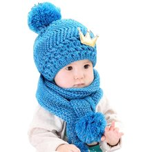 Winter Baby Cute Warming Wool Knitted Crochet Cap with a Crown Pattern Hat and Scarf Set